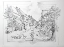 Dorfsraße, Bleistiftzeichnung