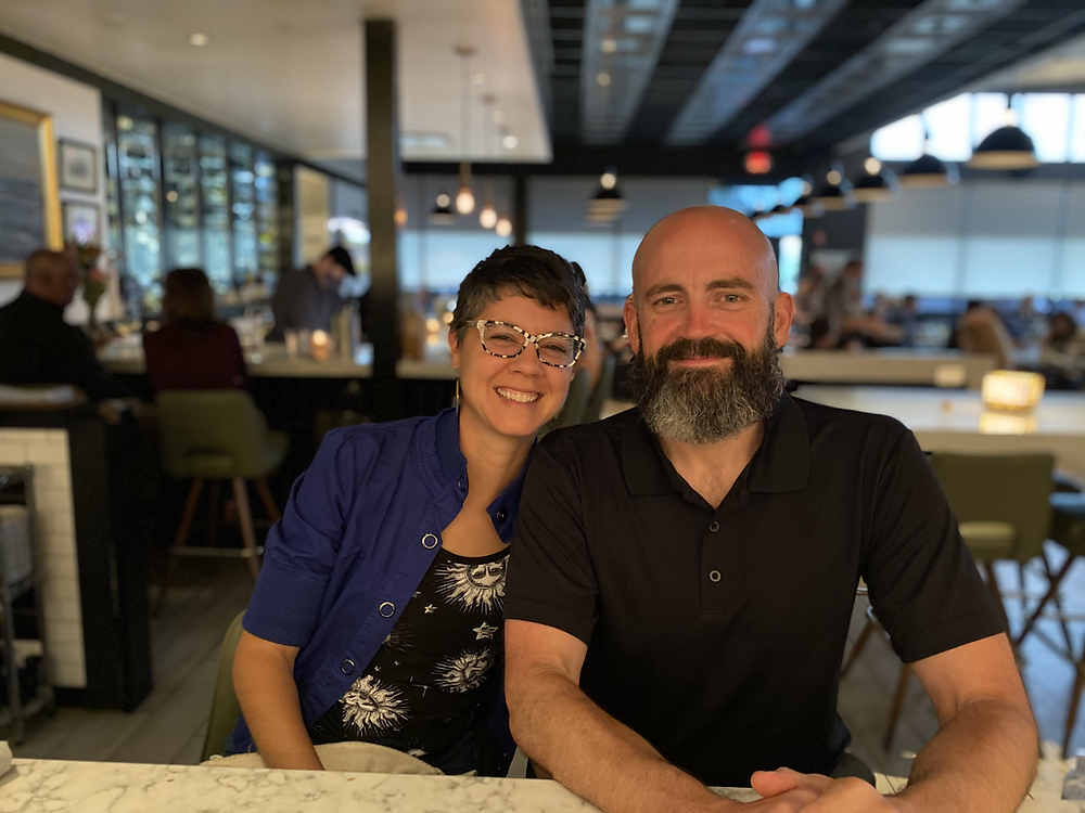 A photo of Amber Ambrose and Lennie Ambrose from their 16th wedding anniversary dinner in Houston, TX.
