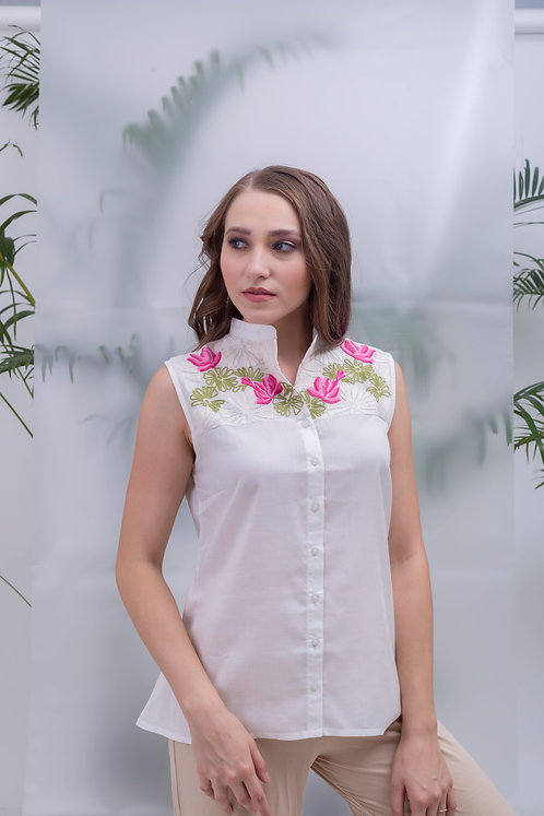 maay - LOTUS POND SLEEVELESS YOKE SHIRT