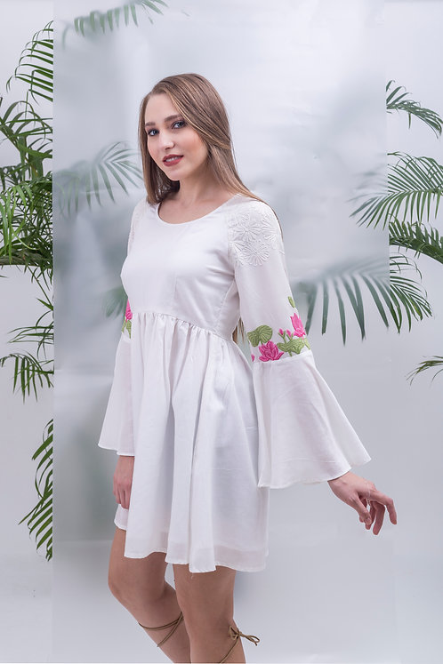 maay-GATHERED RAGLAN FLARED DRESS