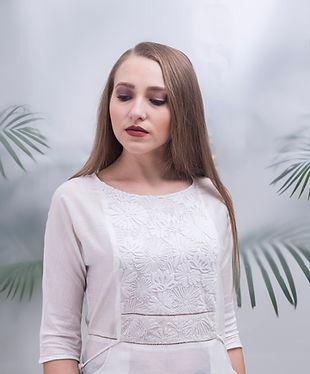 white embroidered kurta