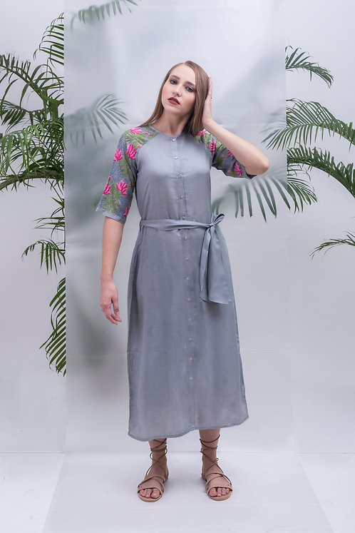 MAAY - LOTUS BLOOM RAGLAN LONG SHIRT DRESS