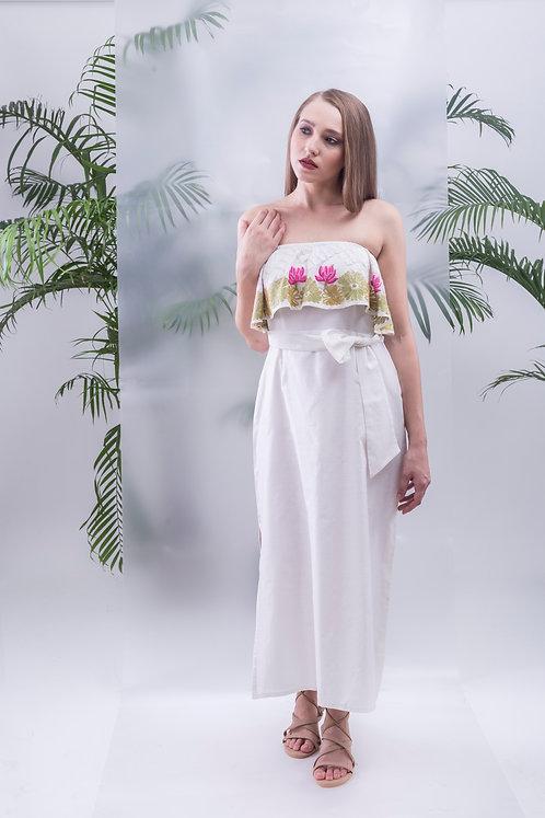 MAAY - LOTUS BLOOM STRAPLESS STRAIGHT MAXI DRESS