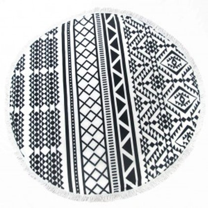 Black and White Aztec Round Beach Towel