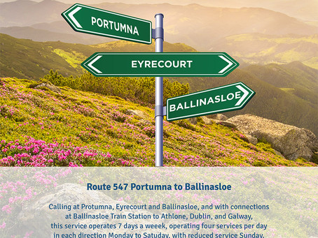 Local Link Galway new service – Route 547 Portumna to Ballinasloe