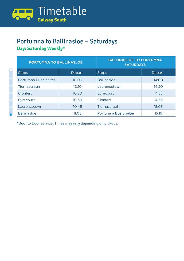 Portumna to Ballinasloe Saturdays