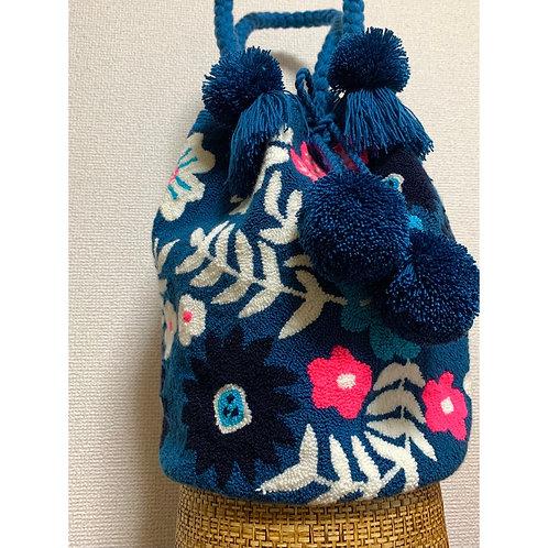 ワユーハンドバッグ 巾着型 タペストリー ブルーフラワー Lサイズ