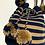 Thumbnail: ワユーハンドバッグ 巾着型 ベージュxネイビー Lサイズ