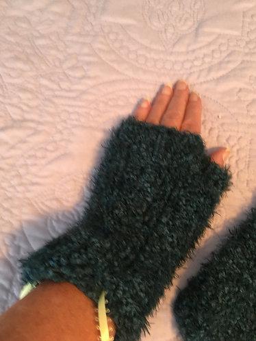 Fingerless Gloves,Blue Green