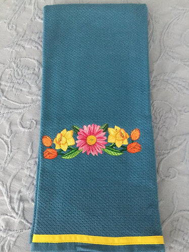 18-144 Bright Flower Border in Watercolor on French Blue
