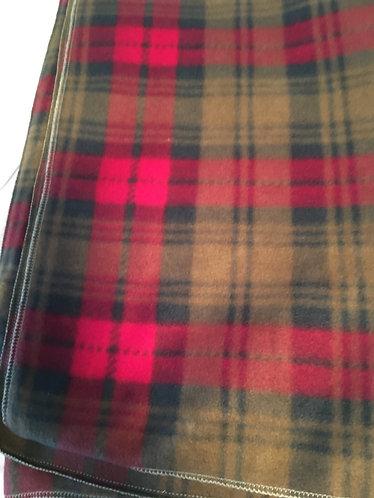 "71"" x 64"" Red Plaid Fleece Blanket"
