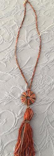 Multi Orange, Rust  & Brown Tassel Necklace