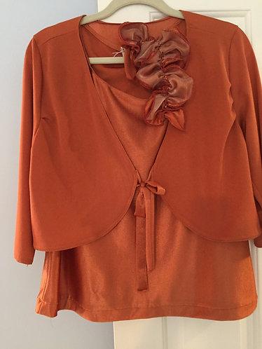Rust Bolero Jacket and Sleeveless Top