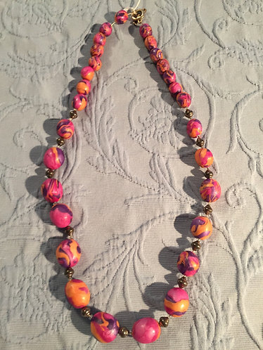 Tangerine/Purple/Fuschia Necklace