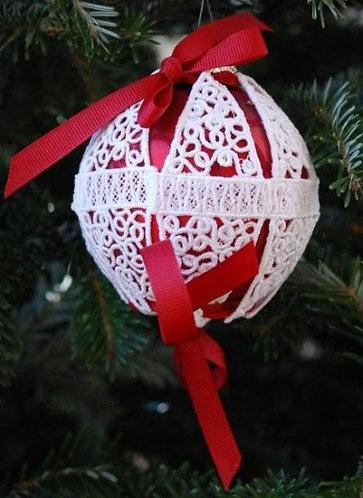 Victorian Lace Ornament - Medium Red