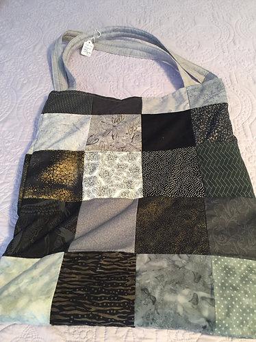 Patchwork Purse, Black, White, Gray