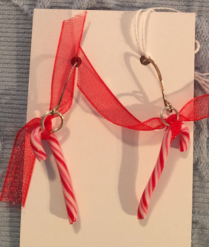 Candy Cane Earrings-SM