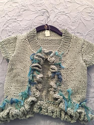 Hand Knit Ruffled Girl's Sweater