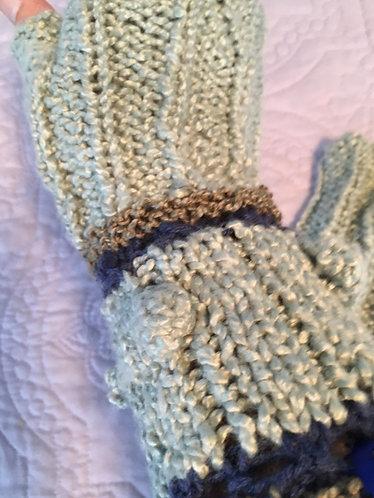 Fingerless Gloves, Aqua, Olive Brown, Navy