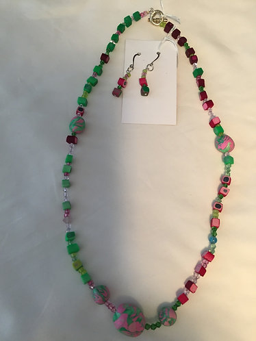 Pink/Green Graduated Necklace