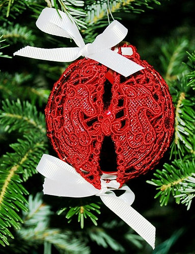 Victorian Lace Ornament - Small Red