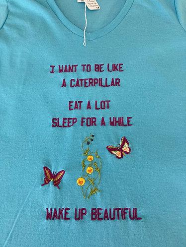 Ladies Tee Shirt,  XS, Aquatic Blue(Bright Aqua), V Neck