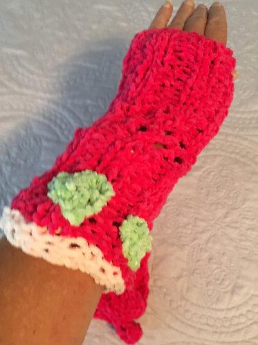 Fingerless Gloves, Br Pink, Lt Pk and Lt Green