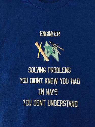 Tee Shirt, Engineer, Men Med, Royal Blue