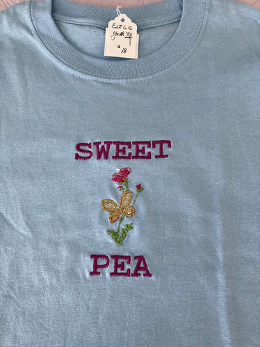 Youth Tee Shirt, XS Pale Blue , Sweet Pea