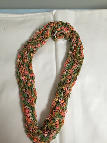 "Cowl-30"" Med Green w Lighter Green, Tangerine, Gold and Peach Bits"