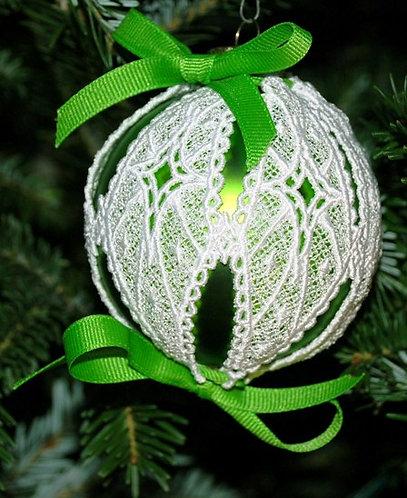 Victorian Lace Ornament - Small Green