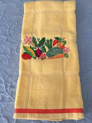 18-141 Fresh Veggies in Watercolor on Mustard
