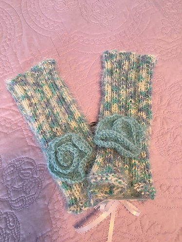 Fingerless Gloves, Periwinkle, White, Aqua