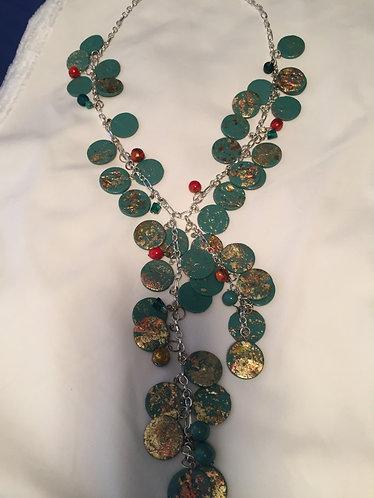 Teal Gold Leaf Necklace