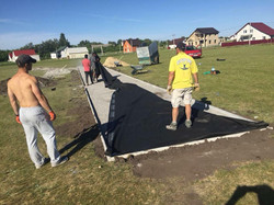 Laying the Kaharlyk cricket pitch