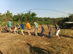 Morning exercise at Boys Camp