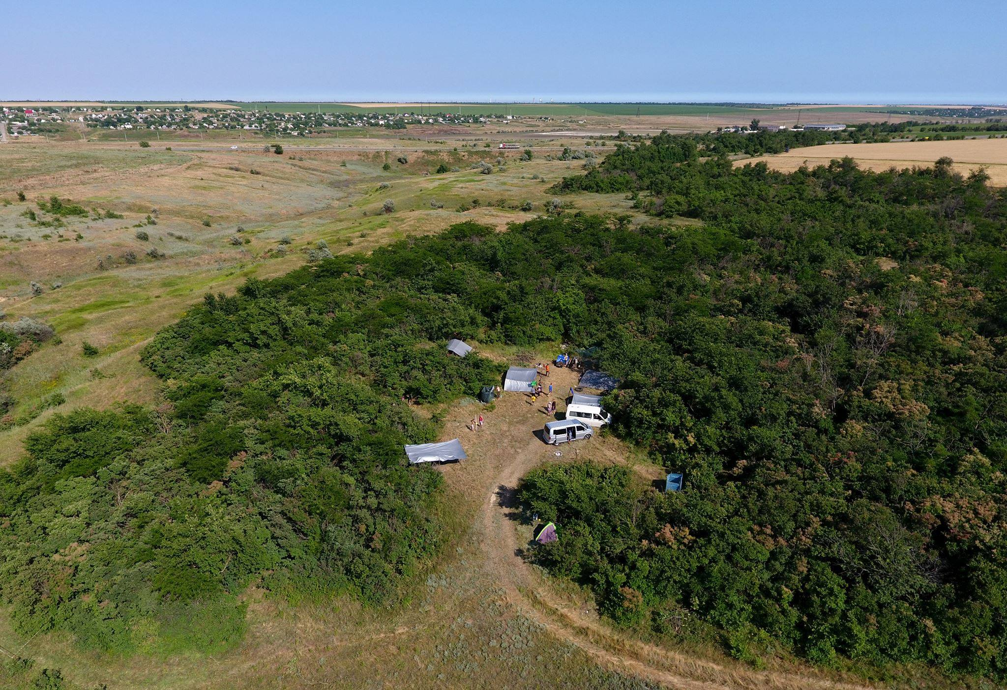 Drone shot of the Boys Camp campsite