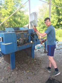 Calum shredding some plastic