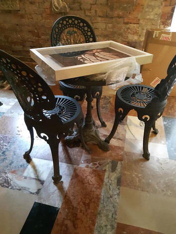 Art ready to be hung at Hotel Al Sole -