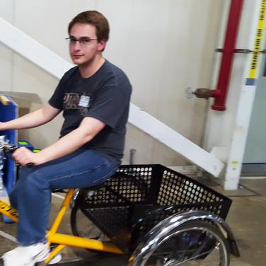 Evan on trike @ APS