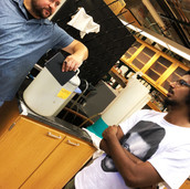 Nick and Karthik chatting in the lab