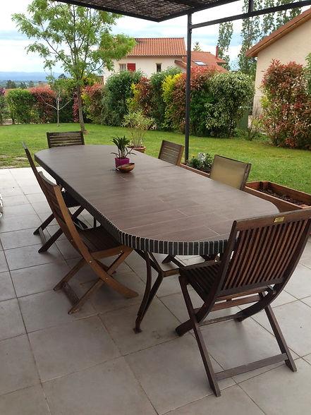 Table jardin aspect bois béton ciment sur mesure haut de gamme