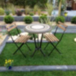 Table jardin mosaique aspect bois béton ciment sur mesure haut de gamme