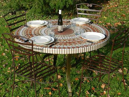 Table jardin mosaique béton ciment sur mesure haut de gamme