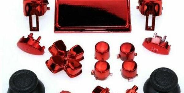 Tasten-Set aus Plastik in Chrom Rot für Playstation 4 Controller JDM-040 bis JDM-055