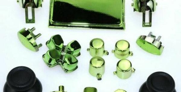 Tasten-Set aus Plastik in Chrom grün  für Playstation 4 Controller JDM-040 bis JDM-055