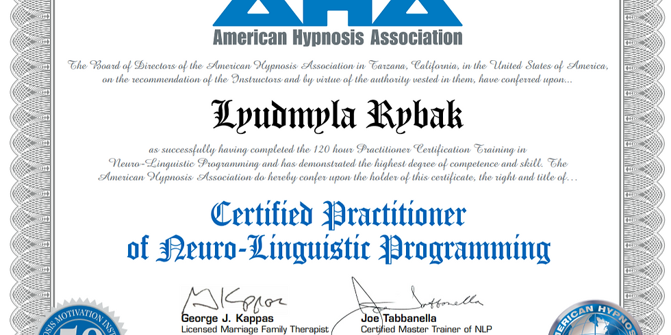 NLP Practitioner Certification Training - 5 Weekends - Live on Zoom