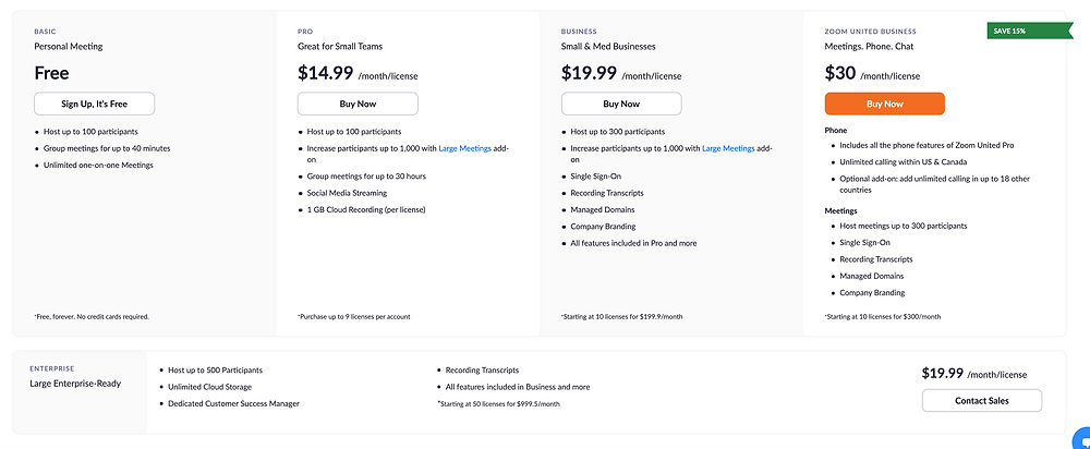 Zoom current pricing page