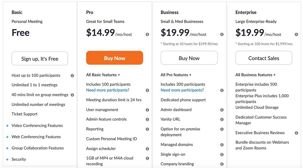 Zoom pre-pandemic pricing page
