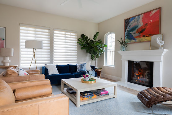 Colorful, Family Friendly Living Room with Blue Velvet Couch